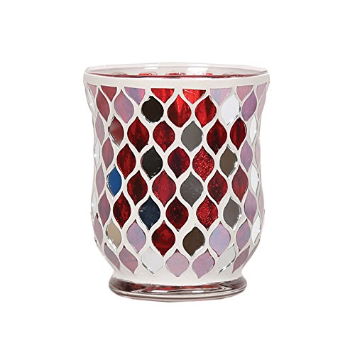 Red Mirror Votive or Tea Light Candle Holder For Candles