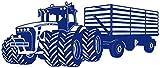 plot4u Wandtattoo Großer Traktor mit Anhänger Trecker Kinderzimmer Kinder Wandaufkleber in 8 Größen und 20 Farben (100x42cm königsblau)