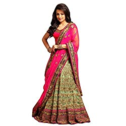 Styles Closet Parrot Green Semi Stitched Net Embroidered lehenga choli