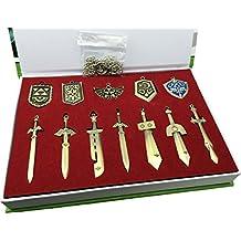 LIHAO The Legend of Zelda Schwert + Schild Waffe Halskette Pendant Schlüsselanhänger Schmuck Arsenal Set Box-Sammlung Cosplay Collection (12 Stk.)