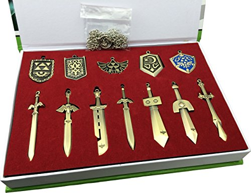 LIHAO The Legend of Zelda Schwert + Schild Waffe Halskette Pendant Schlüsselanhänger Schmuck Arsenal Set Box-Sammlung Cosplay Collection (12 Stk.) (Cosplay Set)