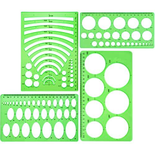 4 Stück Vorlage Kunststoff Herrscher Kreis Oval Kreis Radius Zeichnung Vorlagen für Büro und Schulbedarf (Klar Grün) (Bau-kegel Kunststoff)