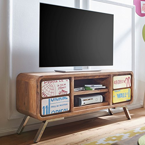 FineBuy Design HiFi Lowboard Kaia Sheesham Massivholz Kommode 130x58x38cm   TV-Board Unterschrank Ablage-Fach   Landhaus-Stil Fernsehtisch Rack   TV-Schrank Fernsehkommode TV Möbel   TV-Tisch groß