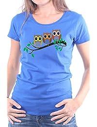 Mister Merchandise Ladies Damen Frauen T-Shirt Eulen auf dem Ast Tee  Mädchen Bedruckt ced01d1651