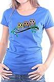 Mister Merchandise Ladies Damen Frauen T-Shirt Eulen auf dem AST Eule Uhu Eulenfamilie Mädchen Design Druck Tee Mädchen Bedruckt Royal, XL