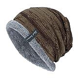 YWLINK Unisex StrickmüTze Absicherung Kopf Cap MüTze Warmer Mode Hut Mit Warmem Innenfutter Pfahlkappe(Freie Größe,Khaki)
