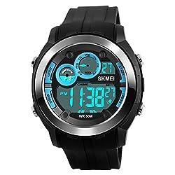 Skmei Special Digital Display Sports watch 3ATM waterproof Stainless Steel Back -1234 Blu