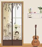 magnetisch Bildschirm Tür Mosquito Vorhang, Haushalt Klettverschluss fernhalten von Mücken Vorhang für Balkon Schiebetüren Wohnzimmer Kinderzimmer Fliegen ventilation100* 210cm (96,5x 210,8cm) braun