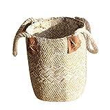 Cesta de almacenamiento para la compra, asas plegables antiguas de mimbre tradicional cestas de la...