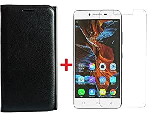 RIdhaniyaa (COMBO OFFER) for( Samsung Galaxy Core II G355) Leather Flip cover + Premium Tempered Glass screen Protector - Black