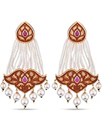 Tistabene Retails Floral Orange Enamelled Earring | Gold Plated Earring | Fashion Jewellery Dangler Earring |...