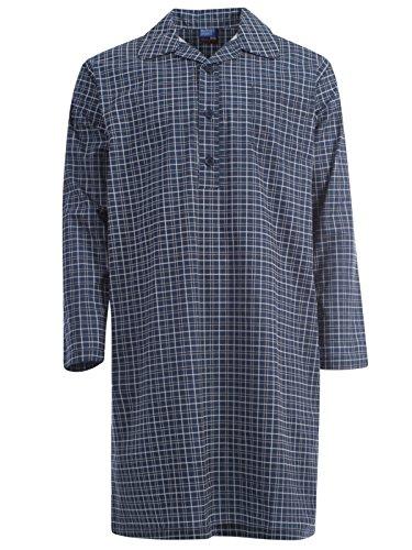 Harvey James Poly Cotton Garn gefärbt Herren Nachthemd Pyjama Mid Blau Hellblau M - XXL New Checked