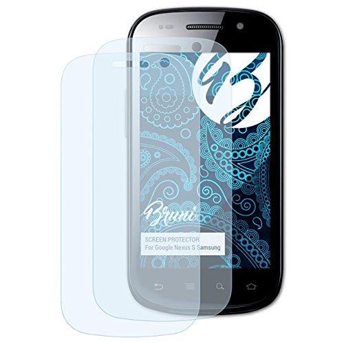 Bruni Schutzfolie für Google Nexus S Samsung Folie, glasklare Bildschirmschutzfolie (2X)