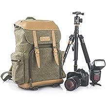 TARION M-02 mochila bolsa de cuero multifuncional impermeable con varios compartimientos y huercos de seguridad gran volumen para cámara trípode digital réflex Canon Nikon al aire libre color caqui y verde