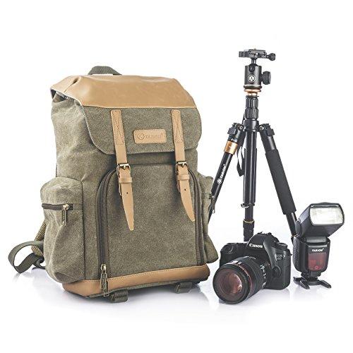 TARION M-02 Kamerarucksack Wasserabweisend aus Canvas Leinenstoff und Echt-Leder (Maße:29x18x42cm) Grün für DSLR & Zubehör