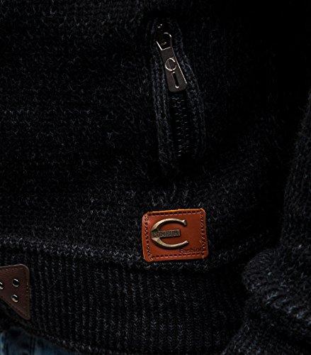 BOLF Herrenpullover Pulli Sweatshirt Sweatjacke Sweater mit Kapuze Reißverschluss COMEOR 311 Schwarz