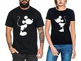 Kiss Partner Look Pärchen T-Shirt Set für Pärchen als Geschenk, Farbe:Schwarz;Größe:Damen Gr. M + Herren Gr. XXL