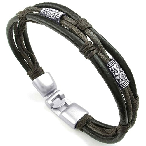AnaZoz Stulpe Armband Leder geflochtenen Seil Armband Brown Männer Frauen Schmuck