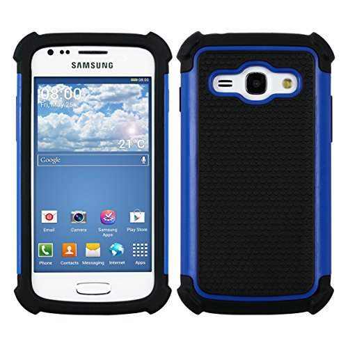 kwmobile Hybrid Outdoor Hülle für Samsung Galaxy Ace 3 - Dual TPU Silikon Hard Case Handy Hard Cover in Blau Schwarz