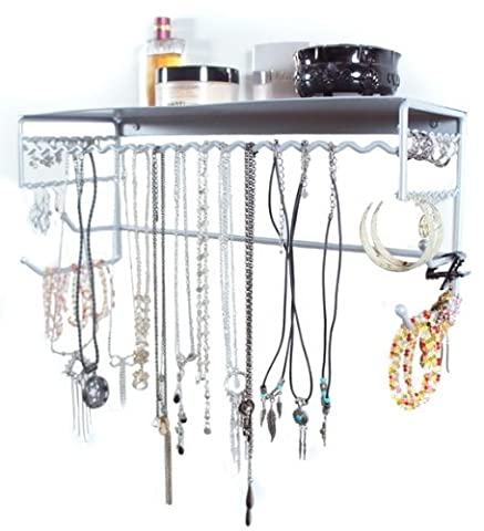 Silver 43.5 cm Wall Mount Jewellery & Accessory Storage Rack