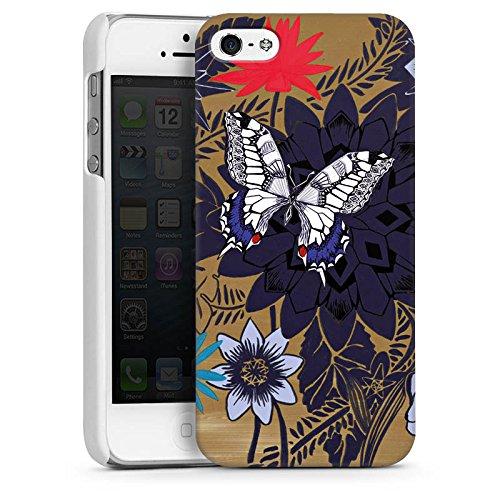 Apple iPhone 5 Housse étui coque protection Papillon Fleurs Fleurs CasDur blanc