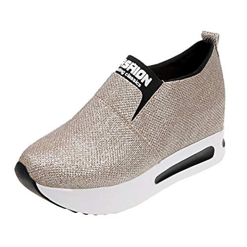 Damen Schuhe Elegant Winter Sneaker LHWY Frauen Flache Dicke Untere Schuhe Slip on Stiefeletten Casual Plattform Sportschuhe Teen Mädchen (37, Gold)