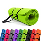 PROMIC Trainingsmatte, Yogamatte, 183 cm x 61 cm x 1,5 cm Pilates Matte, für Yoga, Pilates und Andere Trainings zu Hause und Studio, Rutschfeste Gymnastikmatte mit Tragegürtel, Hellgrün