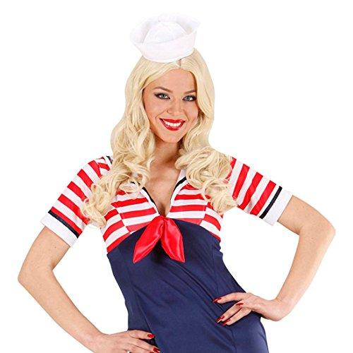 Mini Matrosen Mütze Seemann Hut weiß Marine Minihut Kleine Seemannsmütze Sailor Schiffchen Matrosin Uniform Kostüm (Mini Mütze Matrosen)