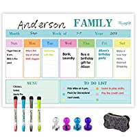 Magnetic Dry Erase Whiteboard Weekly Calendar for Refrigerator, Weekly Meal Planner and Fridge Dry Erase White Board, New Stain Resistant Technology, 42cmx29.7cm, 4 Erase Markers 4 Magnetic Push Pins