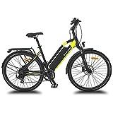 URBANBIKER vélo électrique VTC VIENA (Jaune 26'), Batterie Lithium-ION Samsung 840Wh (48V et 17,5Ah), Moteur 350W, 26 Pouces, Freins hydraulique Shimano.