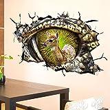 Aufkleber Abnehmbare Dinosaurier-Augen-Innere Rotwild-3D-Vinylaufkleber-Zuhause-zerbrochene Wand-Kunst-Wohnzimmer-Kind-Schlafzimmer-Dekoration Anime-Plakat-Karikatur-Tapete