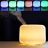 AMERTEER 500ml Premium, Essential Oil Diffuser, Night Light, 5 in 1 Ultrasonic Aromatherapy Fragrant Oil Vaporizer Humidifier, Timer and Auto-Off Safety Switch, 7 LED Light Colors