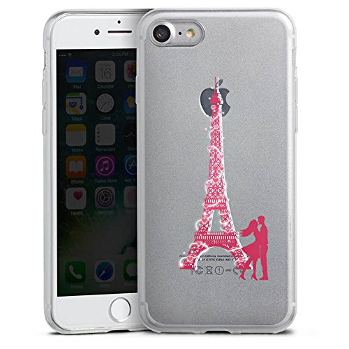 Apple iPhone 8 Slim Case Silikon Hülle Schutzhülle Eiffelturm Liebe Paris Silikon Slim Case transparent