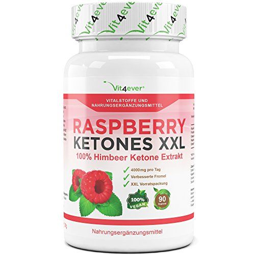 Raspberry Ketones XXL 90 Kapseln, 4000 mg pro Tagesdosierung, Vegan, Fatburner, Vit4ever
