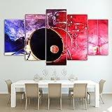 Wall Art HD gedruckte Bilder modulare Wohnzimmer Home Decor Bilderrahmen 5 Stück Musik Schlagzeug Leinwand Gemälde Farbe Rauch Poster, 40 x 60 40 x 80 40 x 100 cm, Rahmen