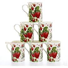 Juego de 6 tazas de porcelana fina, individualmente en caja, diseño de fresas