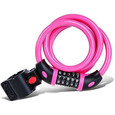 Yiran® Bike Lock, 1,2m cavo a 5cifre combinazione resettabile, migliore per bicicletta, da esterni, Pink