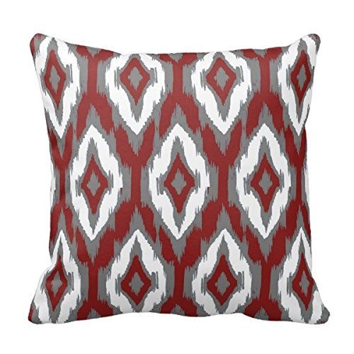 Burgundy Soft-vinyl (Roue SJFY Modern Gray Burgundy White Ikat Tribal Pattern 1a Throw Pillowcase 18x18)