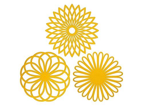 Einfach 3 Silikagel-Blumen-geformte Untersetzer Rutschfeste hitzebeständige Untersetzer für...