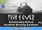 Fish 4 Ever Brisling Sardines in Spring Water 105 g (Pack of 6)