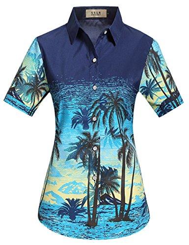 SSLR-Camisa-Mujer-Hawaiana-Aloha-Manga-Corta-Casual-Blusa-Estampada-Medium-Azul