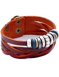 Morella Damen Lederarmband braun geflochten mit Beads veredelt mit Zirkoniasteinen