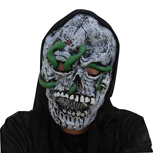 Maske Blauen Geist Kostüm - QHJ Halloween Maske, Halloween Accessoires Terrorist Gesichtsmaske Halloween Party Latex Lustige Maske Blaues Gesicht Geist Grünen Schlange Geist (C)