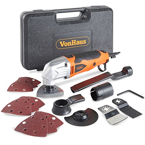 VonHaus 280W Oscillating Multitool / Detail Sander / Precision Cutter / Scraper / Grinder - 10,000-21,000 Variable Speed Control - 15pc Accessory Kit - Sanding Pads, Dust Extraction, Storage Case - 220-240V Corded Compact Design
