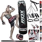 RDX Sacco da Boxe Pieno Arti Marziali MMA Sacchi Pugilato Kick Boxing Muay Thai con Guantoni Allenamento Catena Supporto Muro 17PC Punching Bag Set 4FT 5FT