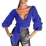 Internet Damen V-Ausschnitt Strickjacke Langarm Casual Crop Tops Bluse (M, blau)
