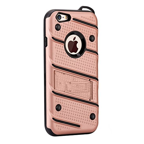 Phone case & Hülle Für iPhone 6 / 6s, Charm Knight Abnehmbare PC + TPU Kombination Schutzhülle mit Halter ( Color : Silver ) Rose gold