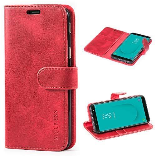 Mulbess Handyhülle für Samsung Galaxy J6 2018 Hülle, Leder Flip Case Schutzhülle für Samsung Galaxy J6 Tasche, Wein Rot