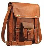 #5: pranjals house 11 inch vintage genuine Leather tablet sling messenger bag for unsex