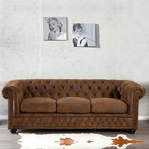 CAGÜ - Edler DESIGNKLASSIKER 3er Sofa [Winchester] Braun aus Kunstleder im Klassisch ENGLISCHEN Chesterfield-Stil, Neu!
